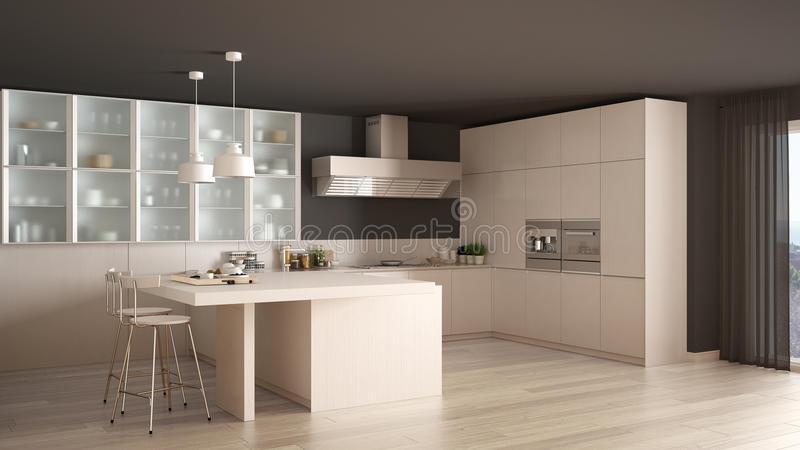 Classic Minimal White Kitchen With Parquet Floor Modern Interio - Is parquet flooring expensive