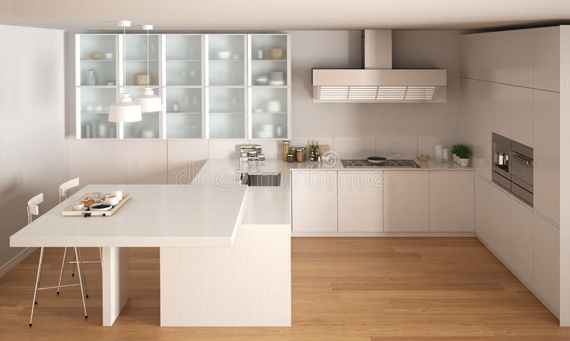 Classic Minimal White Kitchen With Parquet Floor, Modern Interio ...