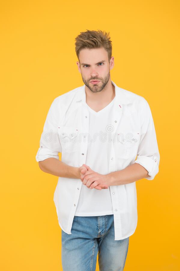 Classic and minimalist style. Attractive man wear shirt. Confident in his appealing. Bearded guy business style. Handsome man fashion model. Sexy macho man stock photos