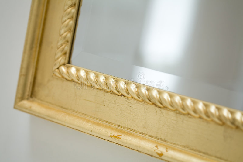 Classic mirror frame. Close up shot stock photography