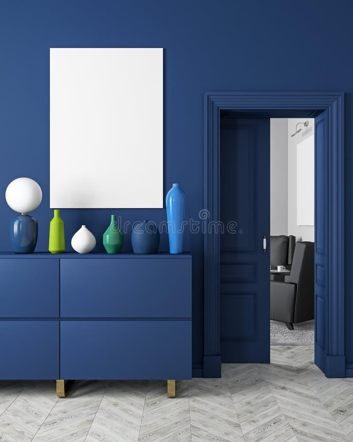 Classic, modern, scandinavian style dark-blue color interior mock up. 3d render illustration. stock illustration