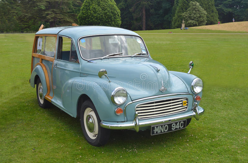 Classic Morris Minor 1000 Traveller. Saffron Walden, Essex, England - June 21, 2015: Classic Morris Minor 1000 Traveller parked on grass at show royalty free stock photography