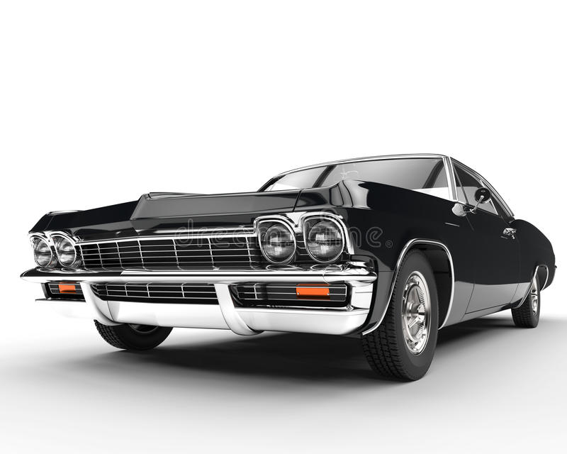 Classic muscle black car - front view closeup vector illustration