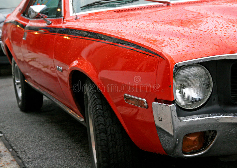 Classic Muscle Car. Closeup view of a classic high horsepower muscle car royalty free stock photography