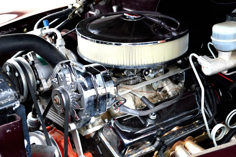 Classic muscle car engine. In a truck engine bay stock photo