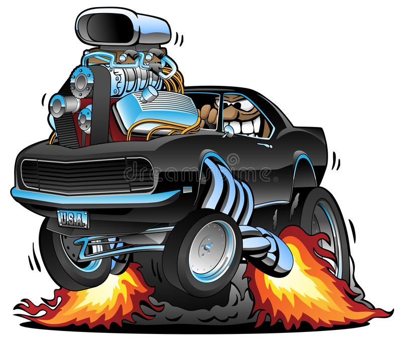 Classic Muscle Car Popping a Wheelie, Huge Chrome Engine, Crazy Driver, Cartoon Vector Illustration. Funny classic American muscle car popping a wheelie, huge stock illustration