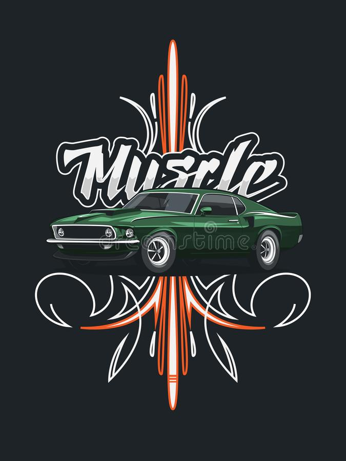 Classic muscle car poster with tribal ornament. royalty free illustration