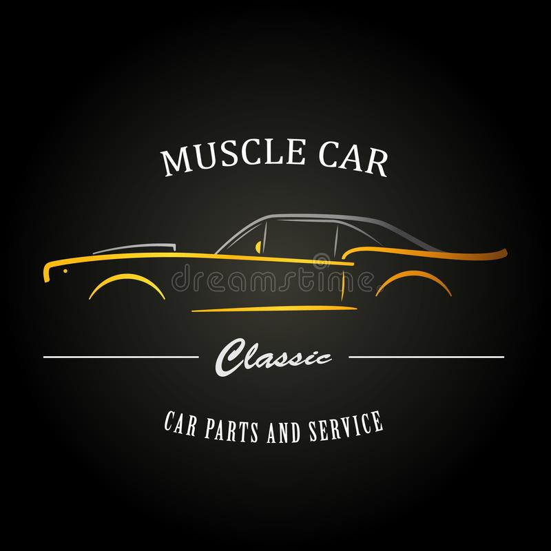 Classic muscle car silhouette. vector illustration