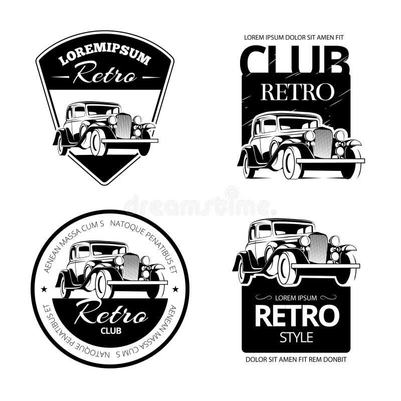 Classic muscle car vector labels, emblems and badges set. Retro vehicle, old automotive transportation logo illustration royalty free illustration