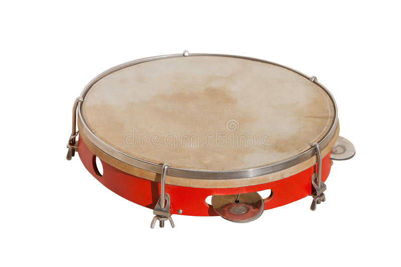 Classic music instrument the tambourine. Isolated on white background royalty free stock photos