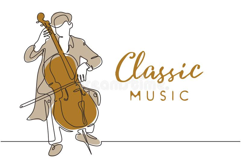 Classic music poster background with cello music player vintage minimalism style of continuous one line drawing vector. Illustration. Young man playing royalty free illustration