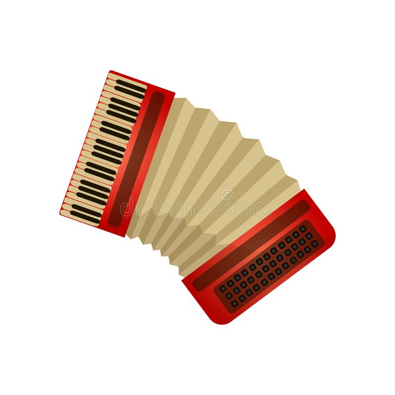 Classic musical instrument accordion or harmony, air device. For concert or university. Cartoon style. Vector illustration on white background vector illustration