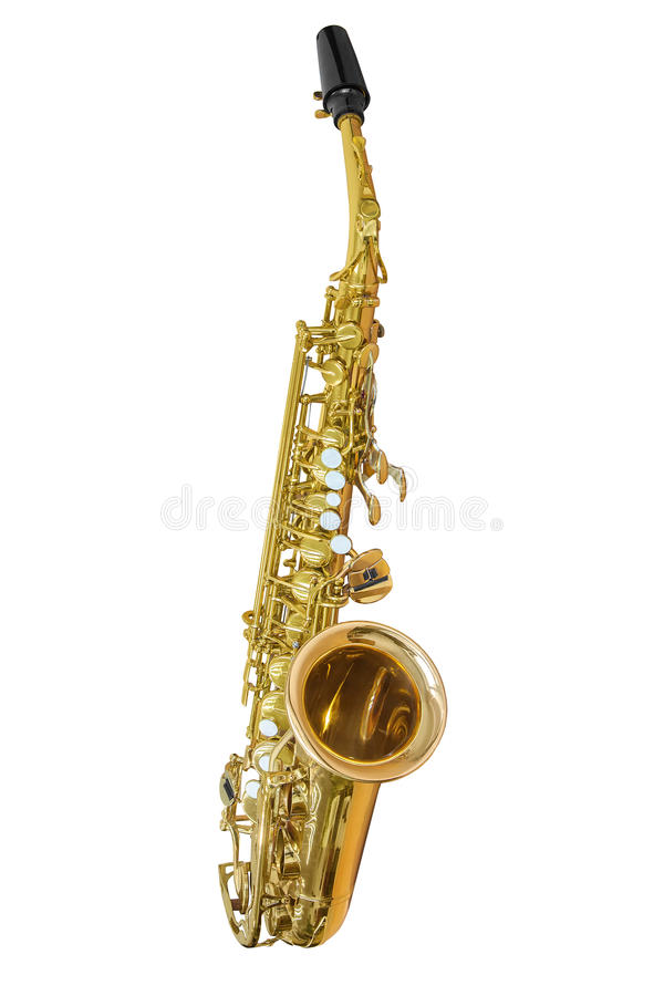 Classic musical instrument saxophone isolated on white background stock photo