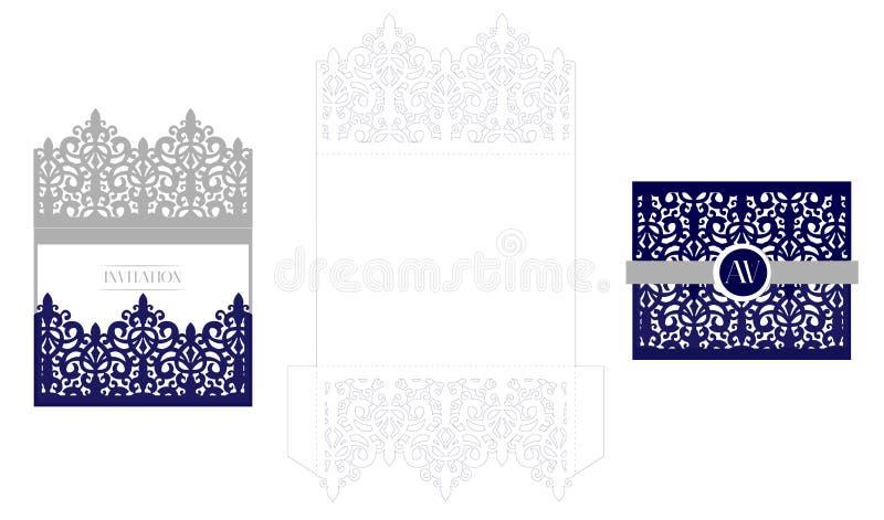 Wedding elegant invitation card packaging template mockup for laser download wedding elegant invitation card packaging template mockup for laser cutting vector royal envelope stopboris Gallery