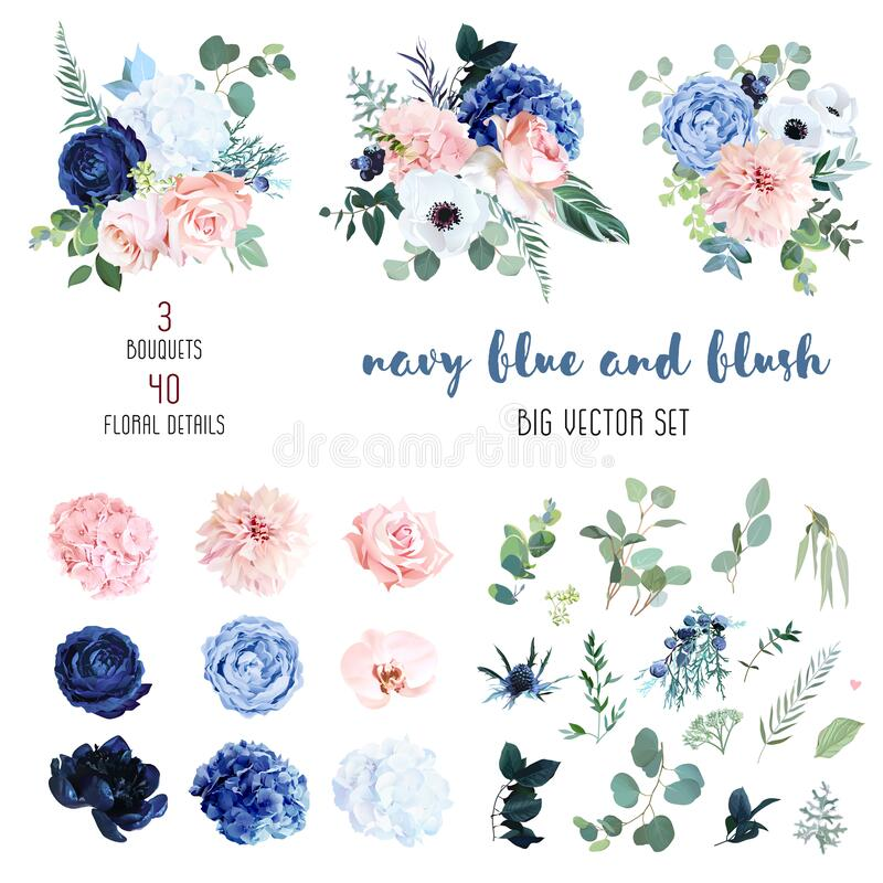 Free Classic Navy Blue, White, Blush Pink Rose, Hydrangea, Ranunculus, Orchid Royalty Free Stock Photo - 185057185