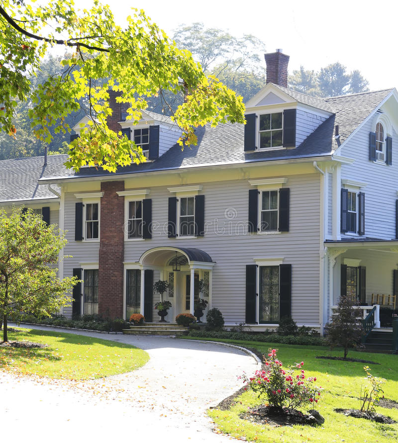 Classic New England American House Exterior. Royalty Free Stock Photos