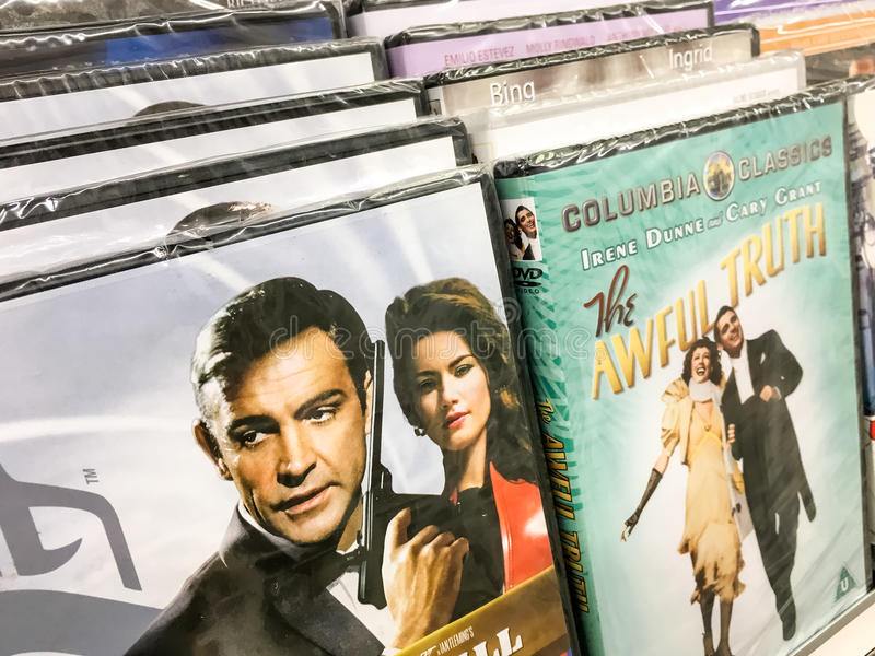 Classic And New Hollywood Production Movies On Dvd For Sale In Entertainment Center. BUCHAREST, ROMANIA - SEPTEMBER 20, 2016: Classic And New Hollywood stock image