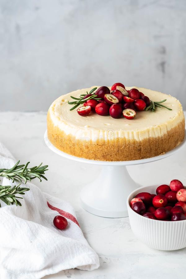 Classic New York Cheesecake with cranberry, rosemary and tea on White Concrete Background, copy spase. Tea and stock photo