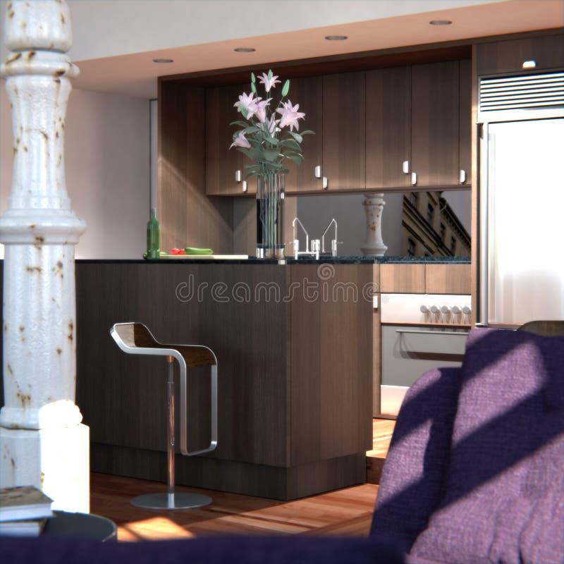 Download Classic New York Loft (kitchen Detail) Stock Illustration    Illustration Of Design