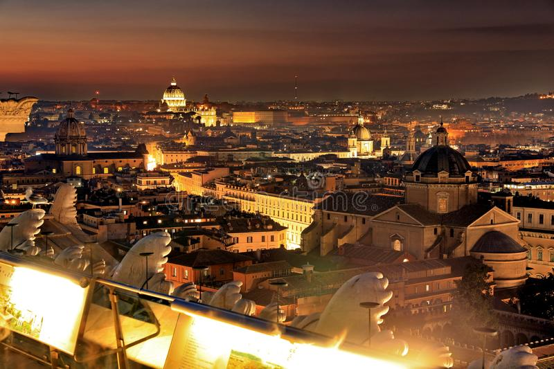 Classic night view at Rome, Italy.Rome  is one of the most populated metropolitan areas in Europe stock photography