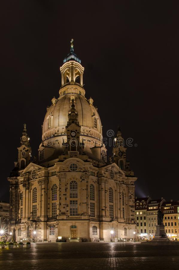 Classic nightshot of Dresden`s Frauenkirche, illuminated by spotlights. Classic nightshot of Dresden`s Frauenkirche, illuminated by spotlights on the square royalty free stock photography