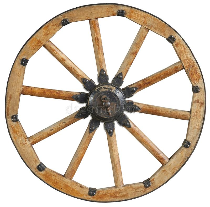 Classic old antique wooden wagon wheel rim spoke with black metal brackets and rivets. Traditional cannon wheel isolated on white. Cannon wheel isolated on stock photos