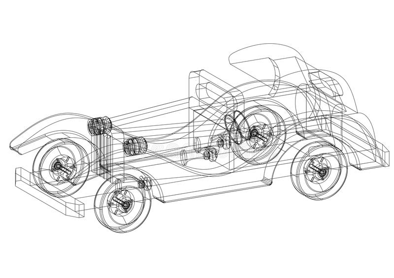 Classic old car 3d blueprint isolated stock illustration download classic old car 3d blueprint isolated stock illustration illustration of engineering graphic malvernweather Choice Image