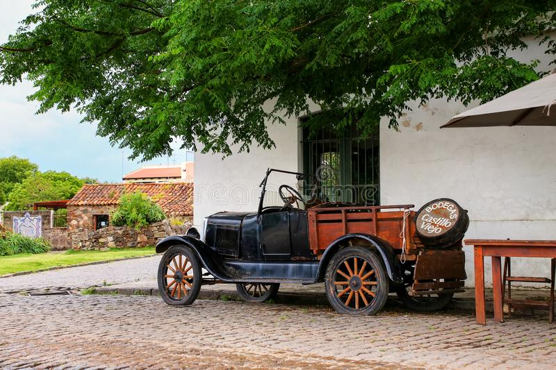 Classic old car parked in historic quarter of Colonia del Sacramento, Uruguay. It is one of the oldest towns in Uruguay royalty free stock image