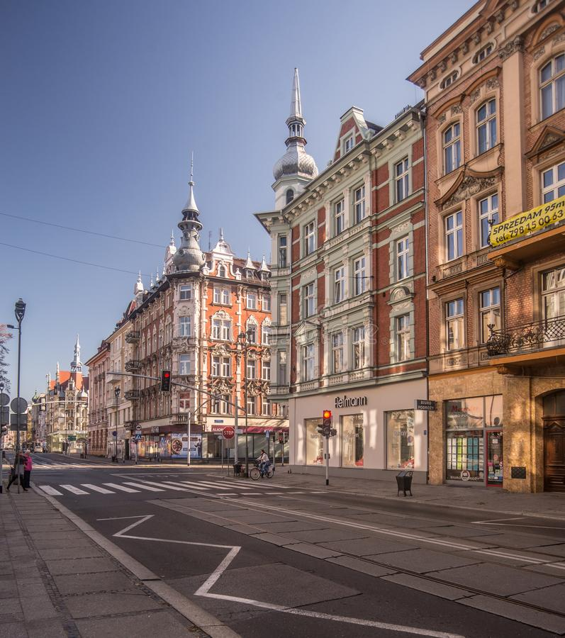 Classic old elegant beautiful living houses in Gliwice, Silesia, Poland stock images