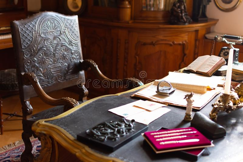 Classic Old Office Room with beautiful wooden chair and huge table royalty free stock image