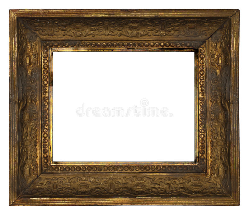 Classic old ornate wooden picture frame carved by hand on white background stock photography