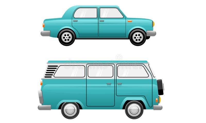 Classic Oldies Vintage Car Minivan Illustration. Classic Oldies Vintage Car and Minivan Illustration royalty free illustration