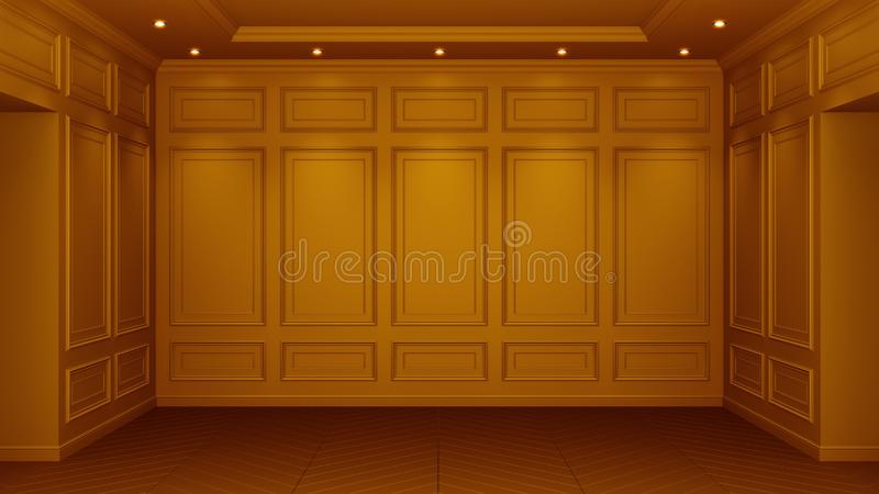 Classic orange interior with copy space. Red walls with classical decor. Floor parquet herringbone. 3d rendering royalty free illustration