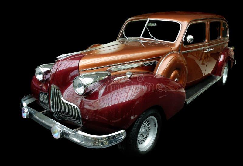 Classic orange retro car isolated stock image