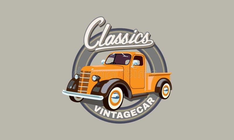 Classic orange truck royalty free illustration