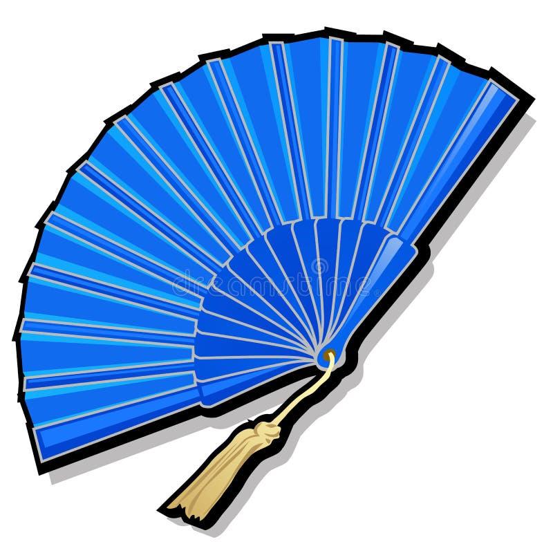 Classic Oriental blue open fan vector illustration