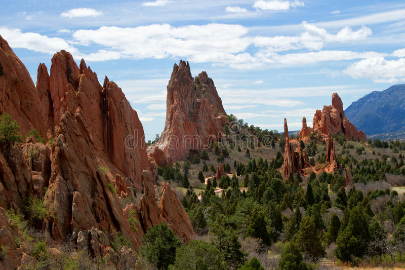 Classic Overlook View of Garden of the Gods in Colorado Springs. The Classic Overlook View of Garden of the Gods in Colorado Springs on a beautiful summer day stock photography