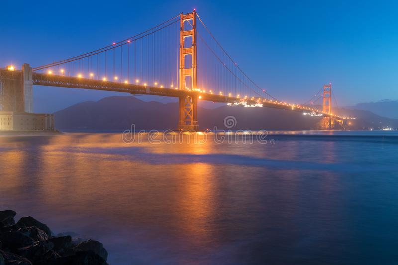 Classic panoramic view of famous Golden Gate Bridge seen from San Francisco harbour in beautiful evening light on a dusk. royalty free stock photo