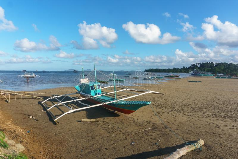 Classic Philippine fishing boat on the background of the sea landscape royalty free stock photos
