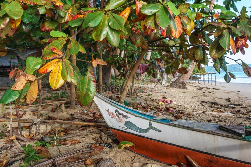 Classic Philippine Fishing BoatClassic Philippine fishing boat on the background of the sea landscape stock photography