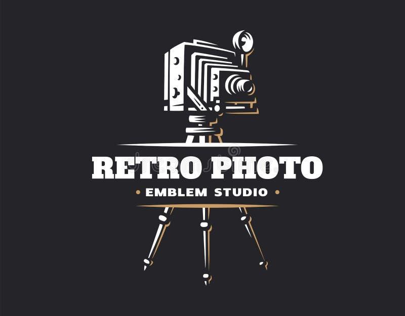 Classic photo camera logo - vector illustration. Vintage emblem stock illustration