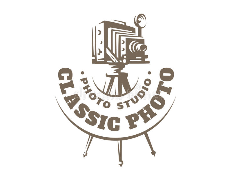 Classic photo camera logo - vector illustration. Vintage emblem stock illustration