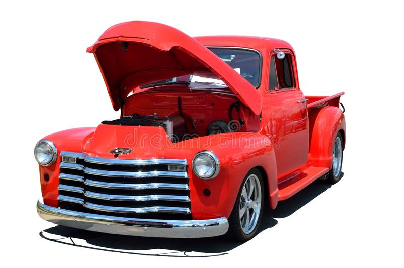 Classic pick up truck. A classic red pick up truck stock photo