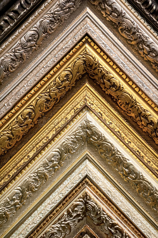 Classic picture frames patterns close-up. Art background royalty free stock photography