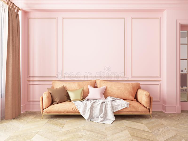 Classic pink interior with sofa. 3D render interior mock up vector illustration