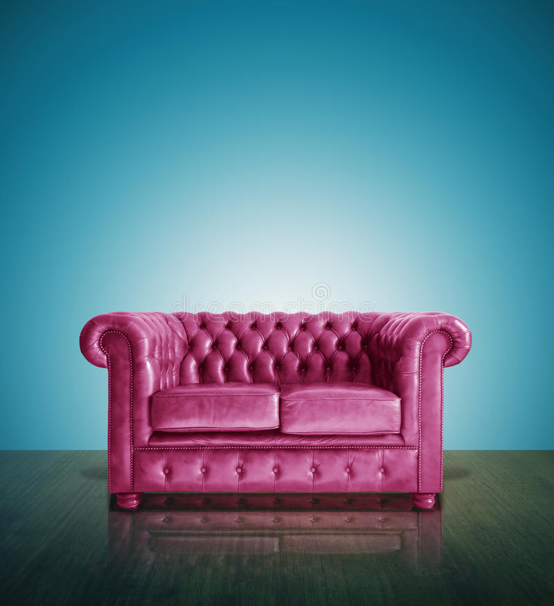 Pink Leather Sofa: Classic Pink Leather Sofa Stock Photo. Image Of Leather