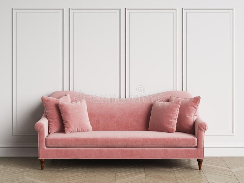 Classic Pink Sofa In Classic Interior With Copy Space Stock ...