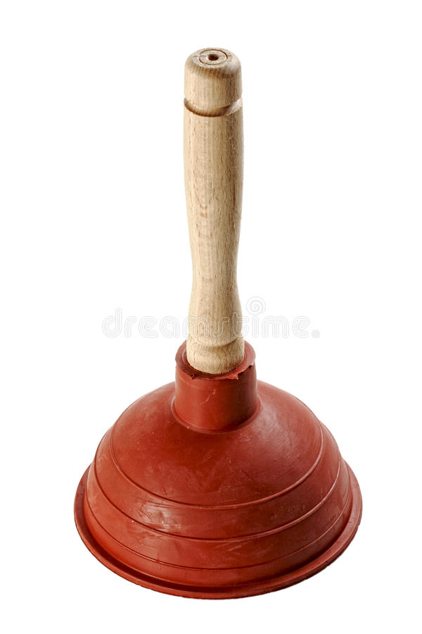 Classic plunger. Fine image of classic rubber plunger isolated on white royalty free stock photos