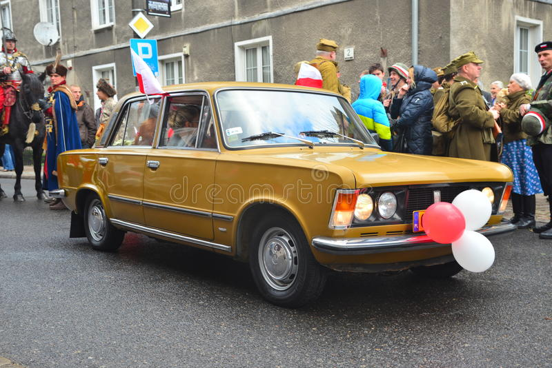 Classic Polish car Polski Fiat 125p on a parade royalty free stock photos