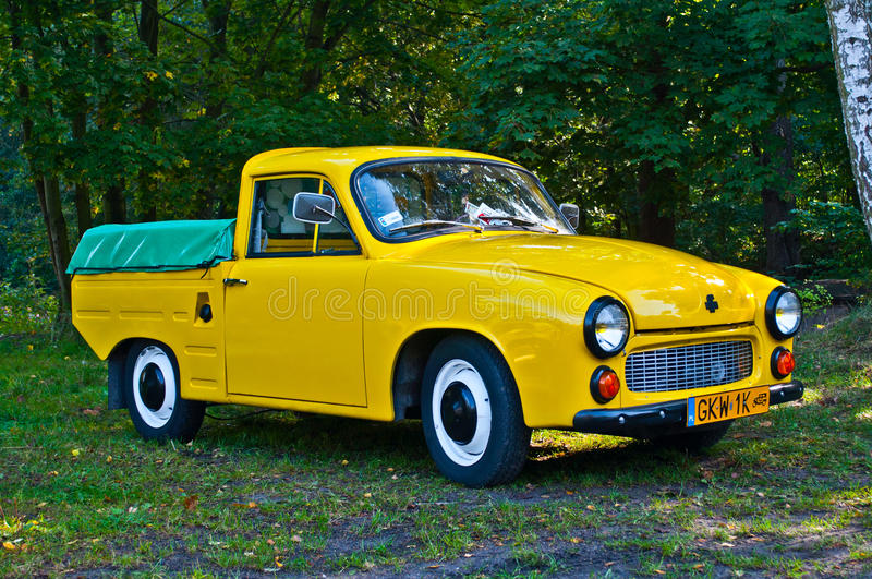 Classic Polish car Syrena R20 at a car show. Green classic Polish pick-up Syrena R20 with two stroke three cylinder engine at a car show in Gdansk Oliwa in royalty free stock images